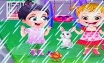 Baby Hazel brincando na chuva