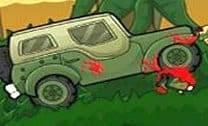 Dirigir o carro na floresta e acabar com os inimigos