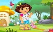 Dora recolhendo os ovos