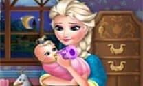 Elsa Frozen cuidar do Bebê