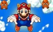 Voar com Mario para pegar moedas